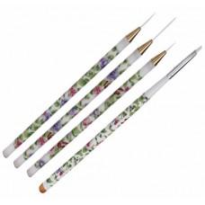 Комплект детайлни четки с бели флорални дръжки, 4бр.