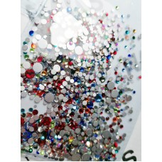 Камъчета микс размери кристални цветни, 1400 бр. в пакет