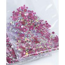 Камъчета микс размери кристални розов хамелеон, 1400 бр. в пакет