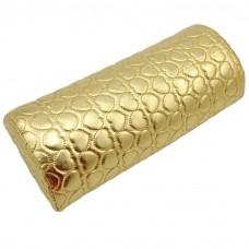 Възглавничка за маникюр, овална златна на сърца