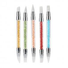 Комплект силиконови четки с цветни дръжки за 3D и 4D гел, 5 броя