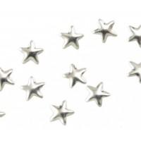 Камъчета тип капси сребърни звезди, 10 броя