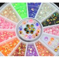 Камъчета кръгли флоурисцентни в кутийка, 12 цвята