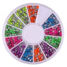 Камъчета кръгли неонови 1.5 мм в кутийка, 12 цвята
