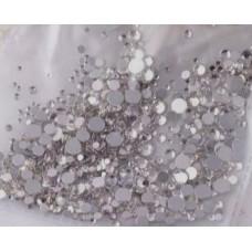 Камъчета микс размери кристални сребърни, 1400 бр. в пакет