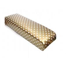 Възглавничка за маникюр, златна на бели точки